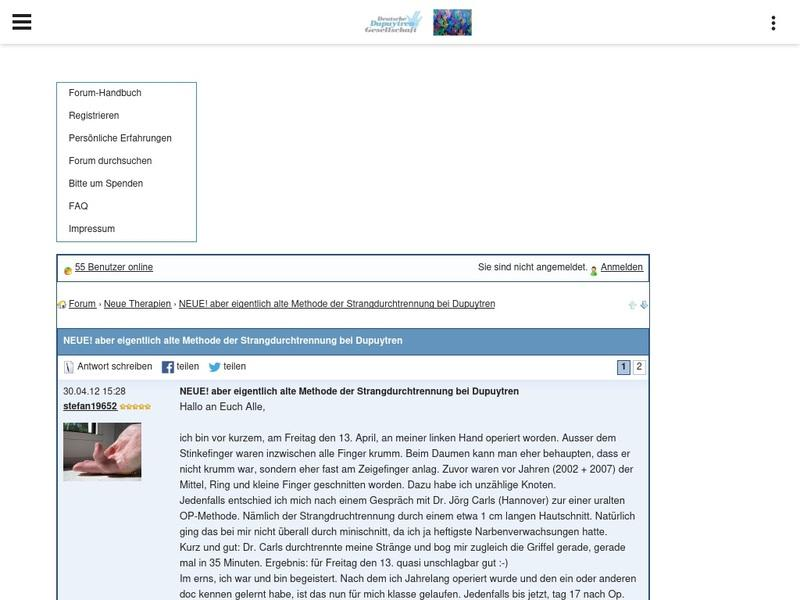 Screenshot von http://www.dupuytren-online.de/Forum_deutsch/board/neue-therapien/neue-aber-eigentlich-alte-methode-der-strangdurchtrennung-bei-dupuytren-2_42.html